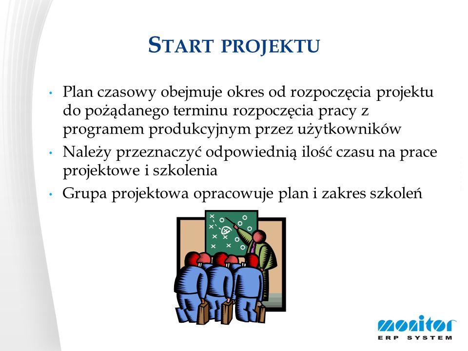 S TART PROJEKTU Plan czasowy obejmuje okres od rozpoczęcia projektu do pożądanego terminu rozpoczęcia pracy z programem produkcyjnym przez użytkownikó