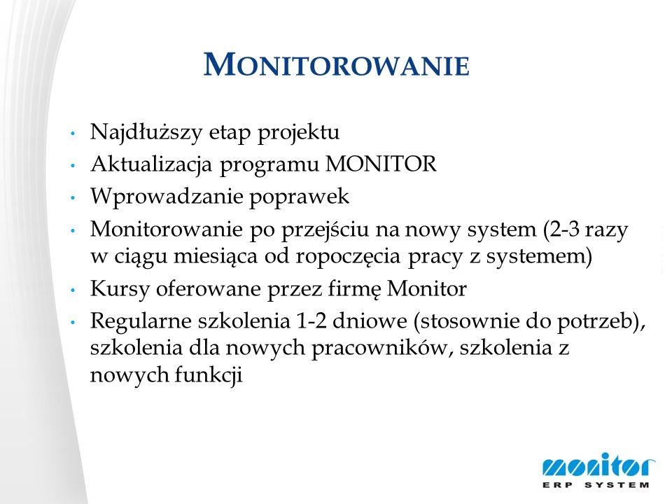 M ONITOROWANIE Najdłuższy etap projektu Aktualizacja programu MONITOR Wprowadzanie poprawek Monitorowanie po przejściu na nowy system (2-3 razy w ciąg