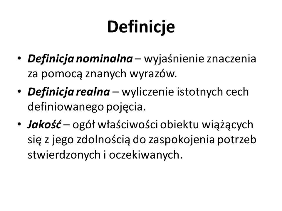 Definicje Definicja nominalna – wyjaśnienie znaczenia za pomocą znanych wyrazów. Definicja realna – wyliczenie istotnych cech definiowanego pojęcia. J