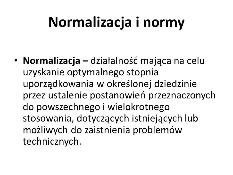 Normalizacja i normy Normalizacja – działalność mająca na celu uzyskanie optymalnego stopnia uporządkowania w określonej dziedzinie przez ustalenie po