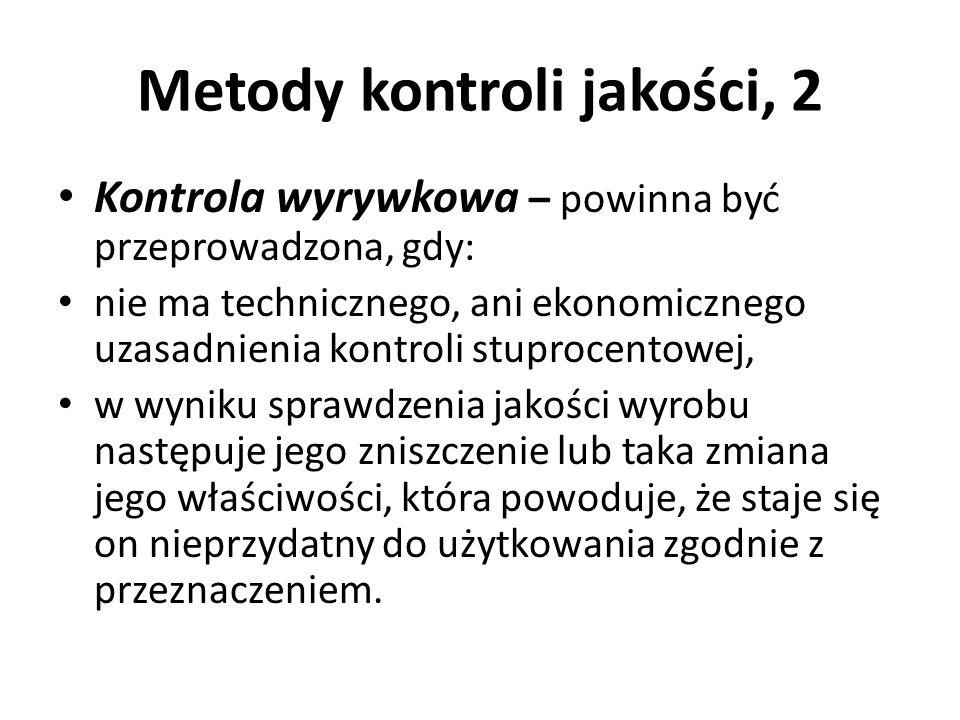 Metody kontroli jakości, 2 Kontrola wyrywkowa – powinna być przeprowadzona, gdy: nie ma technicznego, ani ekonomicznego uzasadnienia kontroli stuproce