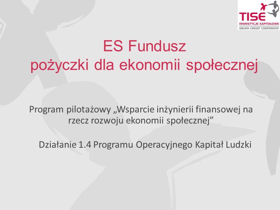ES Fundusz pożyczki dla ekonomii społecznej Program pilotażowy Wsparcie inżynierii finansowej na rzecz rozwoju ekonomii społecznej Działanie 1.4 Programu Operacyjnego Kapitał Ludzki