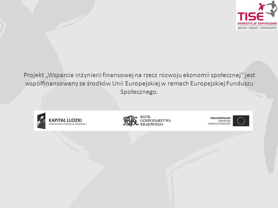 Projekt Wsparcie inżynierii finansowej na rzecz rozwoju ekonomii społecznej jest współfinansowany ze środków Unii Europejskiej w ramach Europejskiej Funduszu Społecznego.