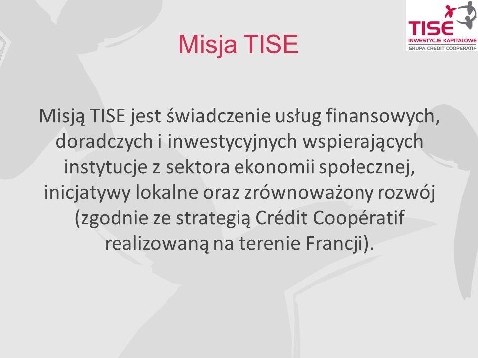 Misja TISE Misją TISE jest świadczenie usług finansowych, doradczych i inwestycyjnych wspierających instytucje z sektora ekonomii społecznej, inicjatywy lokalne oraz zrównoważony rozwój (zgodnie ze strategią Crédit Coopératif realizowaną na terenie Francji).