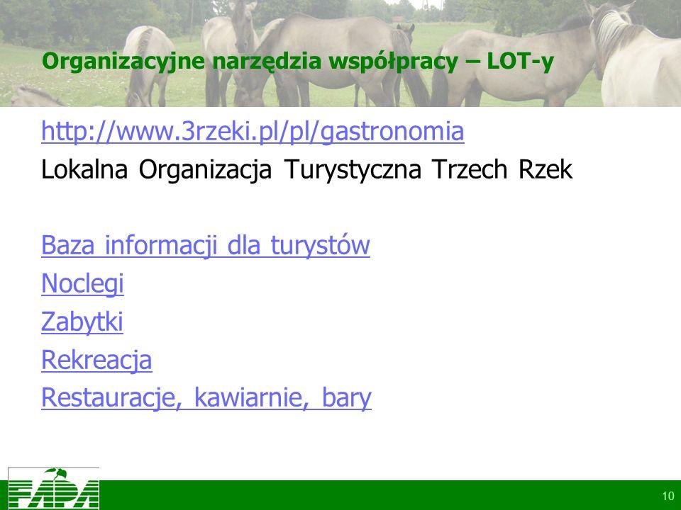 Organizacyjne narzędzia współpracy – LOT-y http://www.3rzeki.pl/pl/gastronomia Lokalna Organizacja Turystyczna Trzech Rzek Baza informacji dla turystów Noclegi Zabytki Rekreacja Restauracje, kawiarnie, bary 10