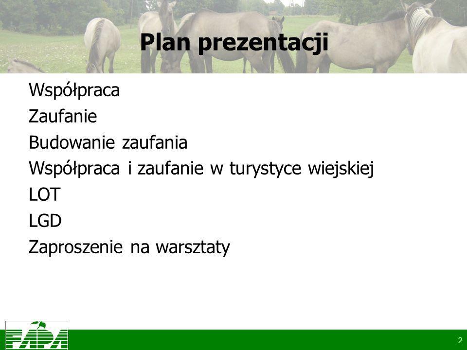 2 Plan prezentacji Współpraca Zaufanie Budowanie zaufania Współpraca i zaufanie w turystyce wiejskiej LOT LGD Zaproszenie na warsztaty