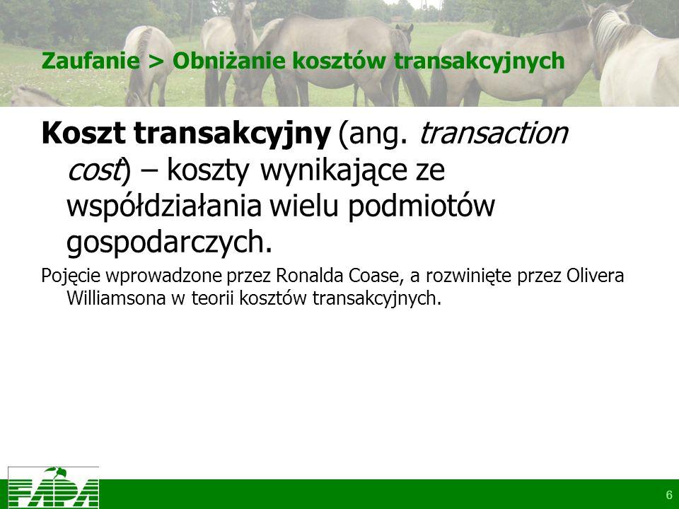 Zaufanie > Obniżanie kosztów transakcyjnych Koszt transakcyjny (ang. transaction cost) – koszty wynikające ze współdziałania wielu podmiotów gospodarc