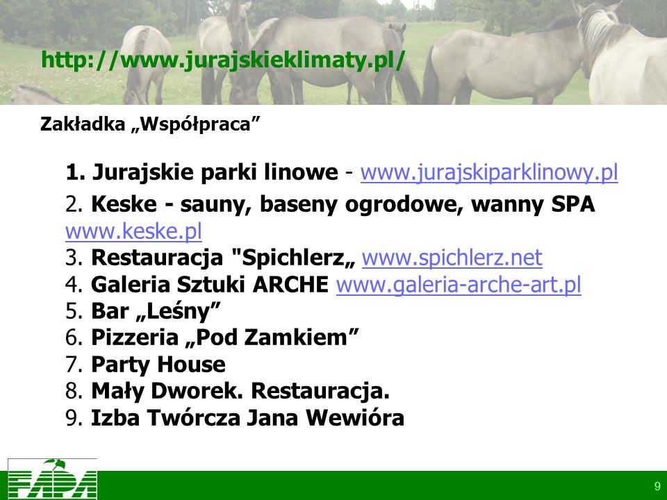 http://www.jurajskieklimaty.pl/ Zakładka Współpraca 1. Jurajskie parki linowe - www.jurajskiparklinowy.plwww.jurajskiparklinowy.pl 2. Keske - sauny, b