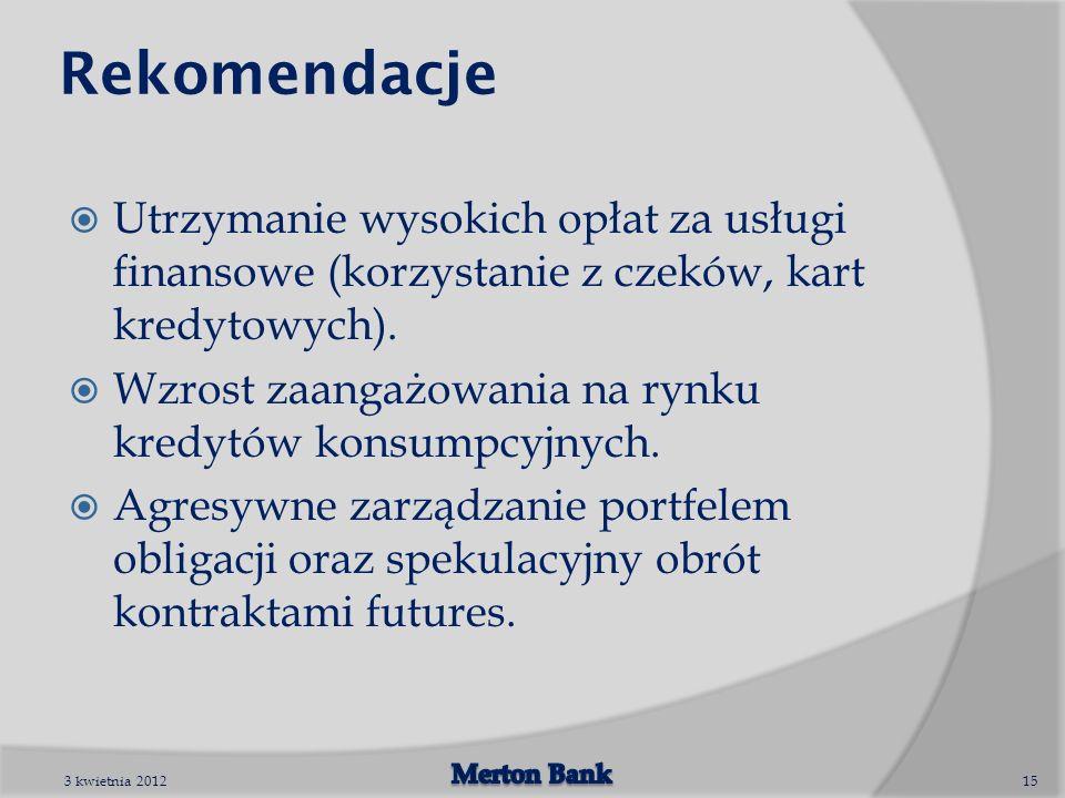 Rekomendacje Utrzymanie wysokich opłat za usługi finansowe (korzystanie z czeków, kart kredytowych). Wzrost zaangażowania na rynku kredytów konsumpcyj