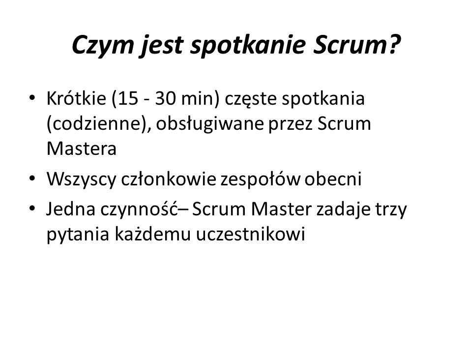 Czym jest spotkanie Scrum? Krótkie (15 - 30 min) częste spotkania (codzienne), obsługiwane przez Scrum Mastera Wszyscy członkowie zespołów obecni Jedn