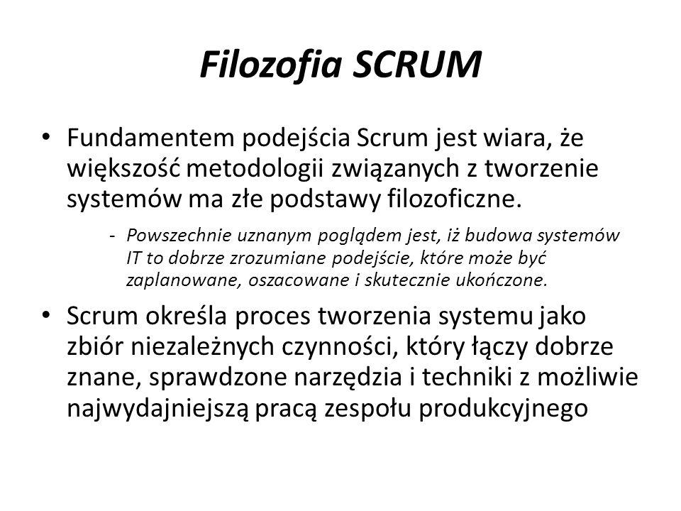 Filozofia SCRUM Fundamentem podejścia Scrum jest wiara, że większość metodologii związanych z tworzenie systemów ma złe podstawy filozoficzne. -Powsze