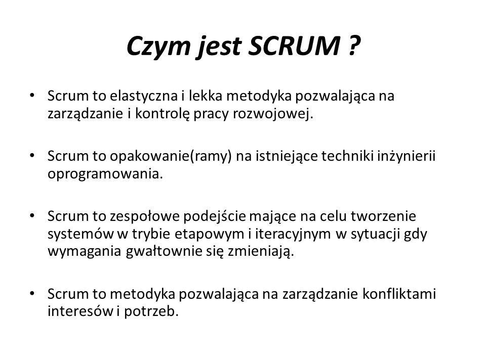 Czym jest SCRUM ? Scrum to elastyczna i lekka metodyka pozwalająca na zarządzanie i kontrolę pracy rozwojowej. Scrum to opakowanie(ramy) na istniejące