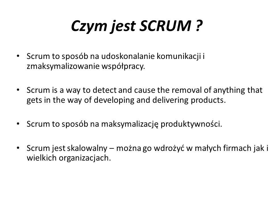 Czym jest SCRUM ? Scrum to sposób na udoskonalanie komunikacji i zmaksymalizowanie współpracy. Scrum is a way to detect and cause the removal of anyth