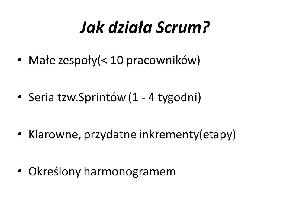 Jak działa Scrum? Małe zespoły(< 10 pracowników) Seria tzw.Sprintów (1 - 4 tygodni) Klarowne, przydatne inkrementy(etapy) Określony harmonogramem
