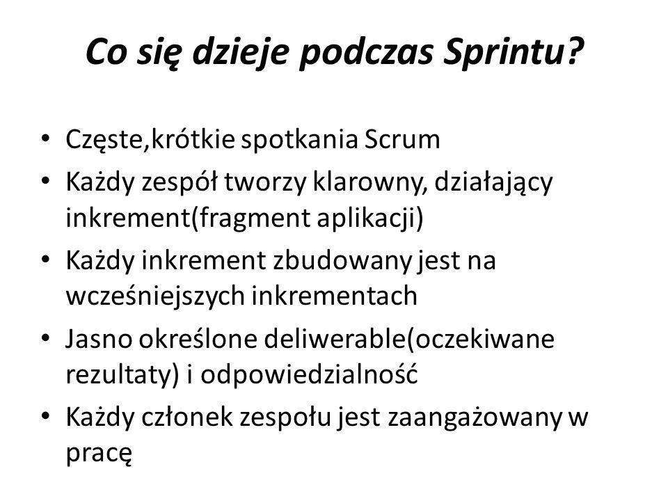 Co się dzieje podczas Sprintu? Częste,krótkie spotkania Scrum Każdy zespół tworzy klarowny, działający inkrement(fragment aplikacji) Każdy inkrement z