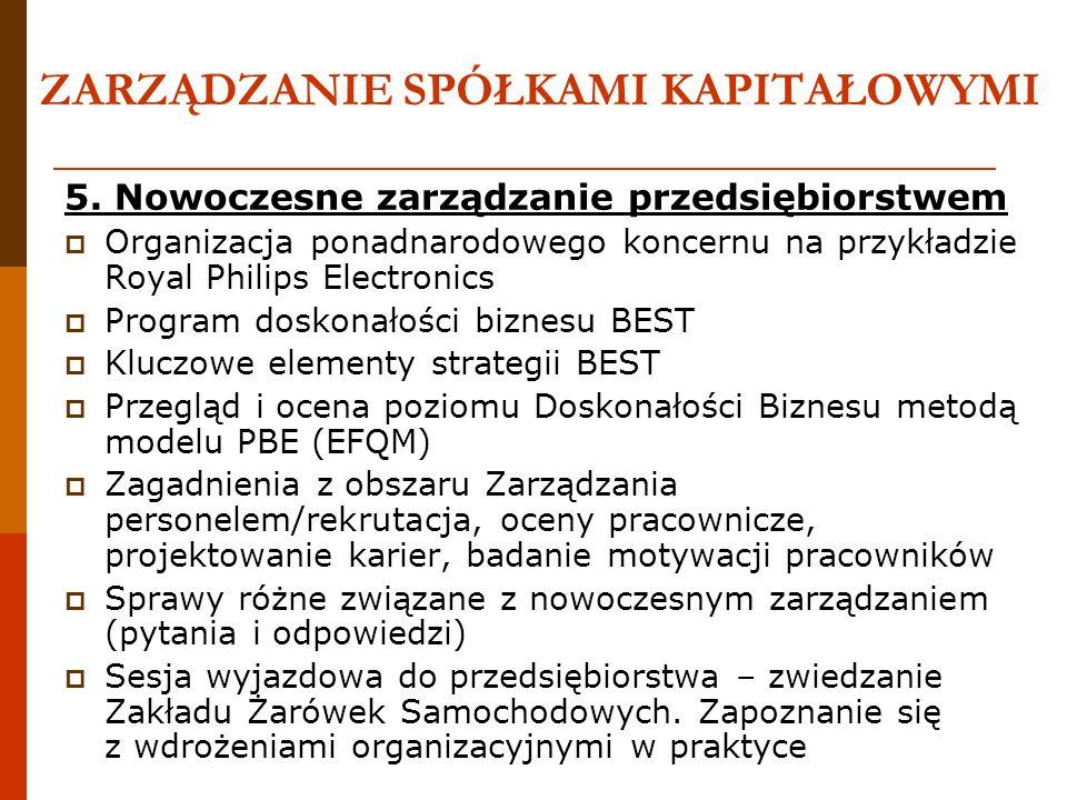 ZARZĄDZANIE SPÓŁKAMI KAPITAŁOWYMI 5. Nowoczesne zarządzanie przedsiębiorstwem Organizacja ponadnarodowego koncernu na przykładzie Royal Philips Electr