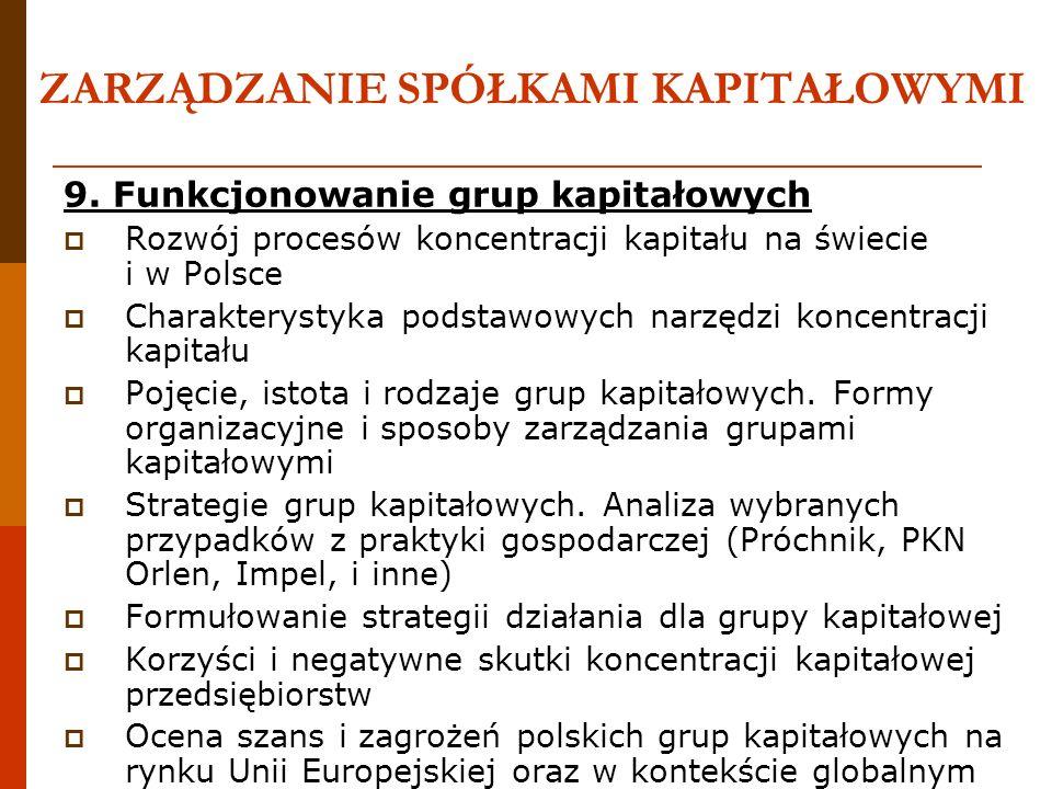 ZARZĄDZANIE SPÓŁKAMI KAPITAŁOWYMI 9. Funkcjonowanie grup kapitałowych Rozwój procesów koncentracji kapitału na świecie i w Polsce Charakterystyka pods