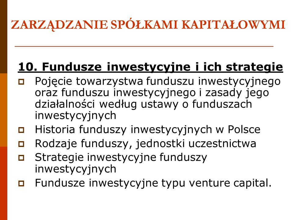 ZARZĄDZANIE SPÓŁKAMI KAPITAŁOWYMI 10. Fundusze inwestycyjne i ich strategie Pojęcie towarzystwa funduszu inwestycyjnego oraz funduszu inwestycyjnego i