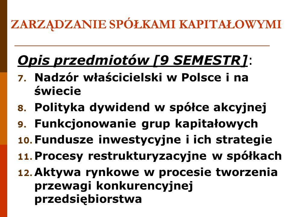 ZARZĄDZANIE SPÓŁKAMI KAPITAŁOWYMI Opis przedmiotów [9 SEMESTR]: 7. Nadzór właścicielski w Polsce i na świecie 8. Polityka dywidend w spółce akcyjnej 9