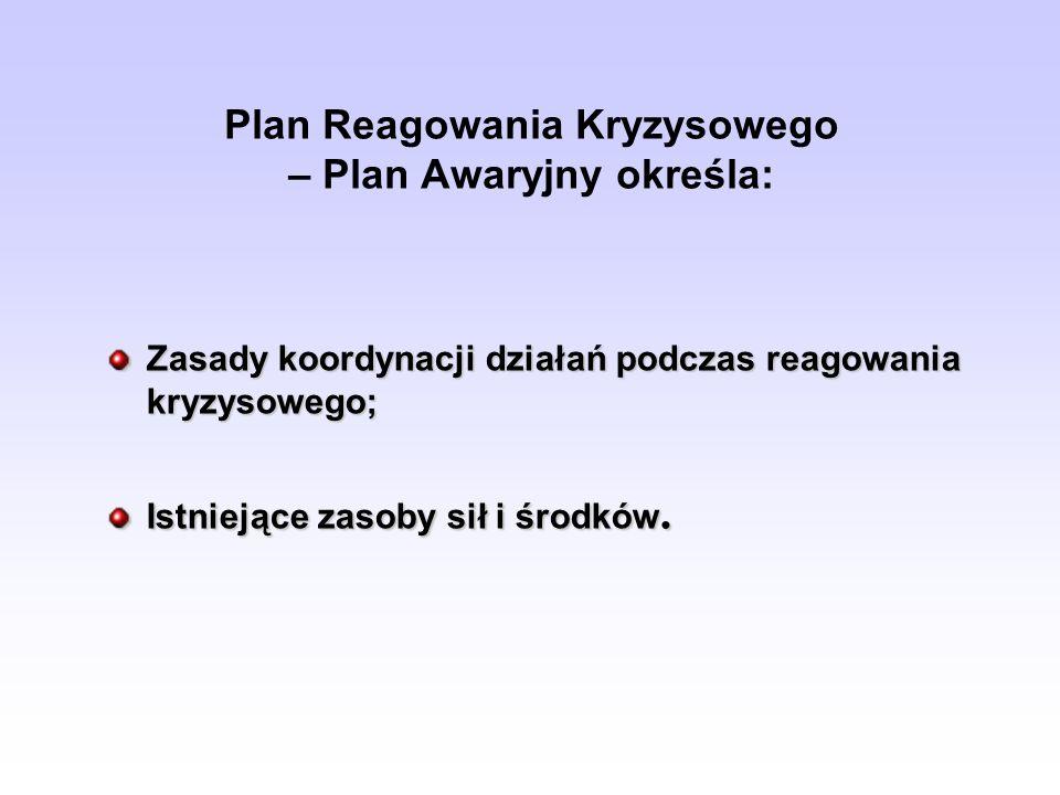 Plan Reagowania Kryzysowego – Plan Awaryjny określa: Zasady koordynacji działań podczas reagowania kryzysowego; Istniejące zasoby sił i środków.