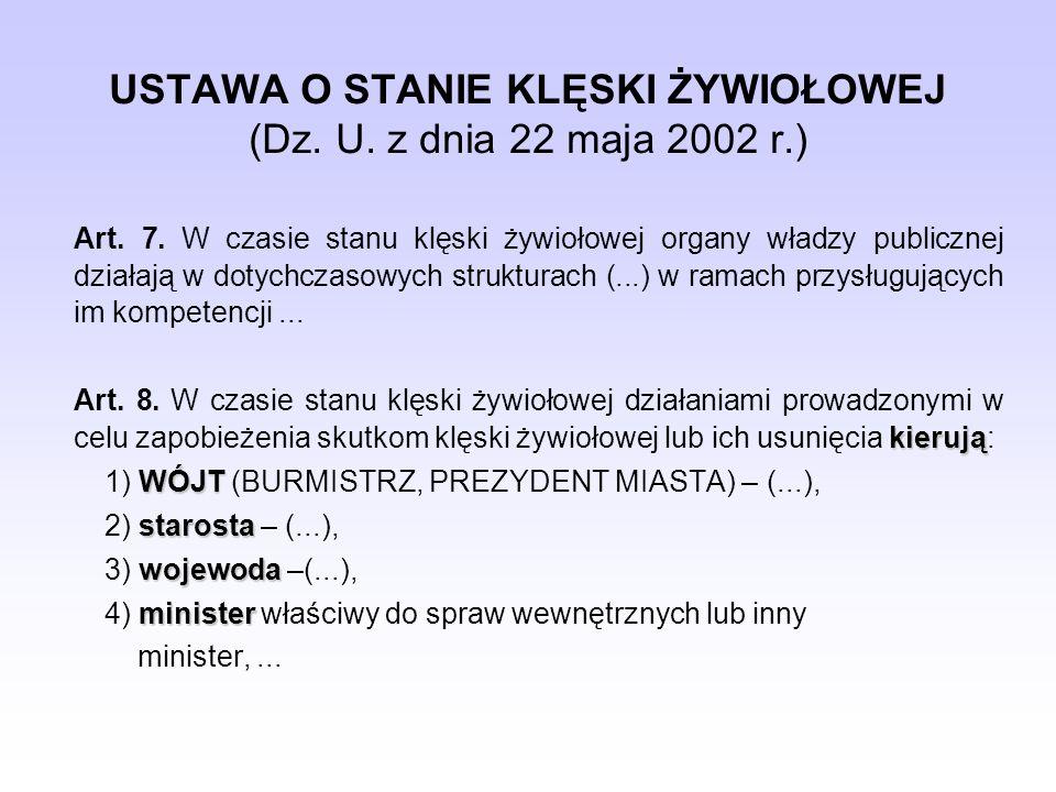 USTAWA O STANIE KLĘSKI ŻYWIOŁOWEJ (Dz. U. z dnia 22 maja 2002 r.) Art. 7. W czasie stanu klęski żywiołowej organy władzy publicznej działają w dotychc