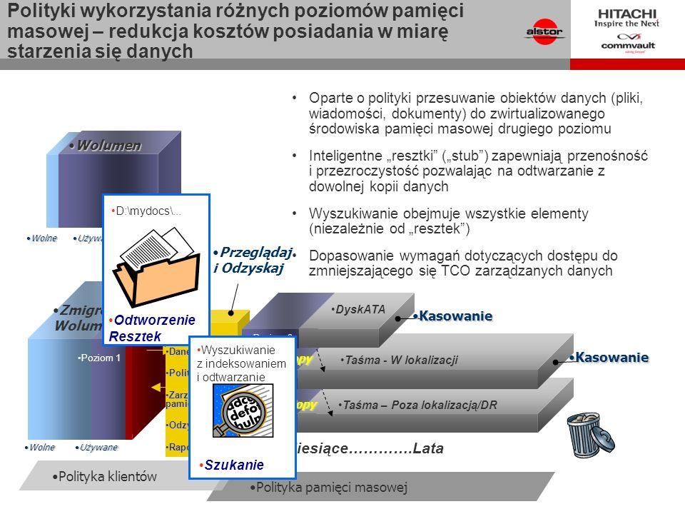 Polityka pamięci masowej Odtwarzanie Resztek Zmigrowany Wolumen UżywaneUżywane WolneWolne Poziom 1 CTECTE DaneDane PolitykiPolityki Zarządzanie pamięciąZarządzanie pamięcią OdzyskiwanieOdzyskiwanie RaportowanieRaportowanie Taśma – Poza lokalizacją/DR AuxCopyAuxCopy Taśma - W lokalizacji AuxCopyAuxCopy KasowanieKasowanie Poziom 3 Przeglądaj i Odzyskaj Oparte o polityki przesuwanie obiektów danych (pliki, wiadomości, dokumenty) do zwirtualizowanego środowiska pamięci masowej drugiego poziomu Inteligentne resztki (stub) zapewniają przenośność i przezroczystość pozwalając na odtwarzanie z dowolnej kopii danych Wyszukiwanie obejmuje wszystkie elementy (niezależnie od resztek) Dopasowanie wymagań dotyczących dostępu do zmniejszającego się TCO zarządzanych danych Miesiące………….Lata WolumenWolumen UżywaneUżywane WolneWolne DyskATA Poziom 2 KasowanieKasowanie Polityka klientów Odtworzenie Resztek D:\mydocs\...