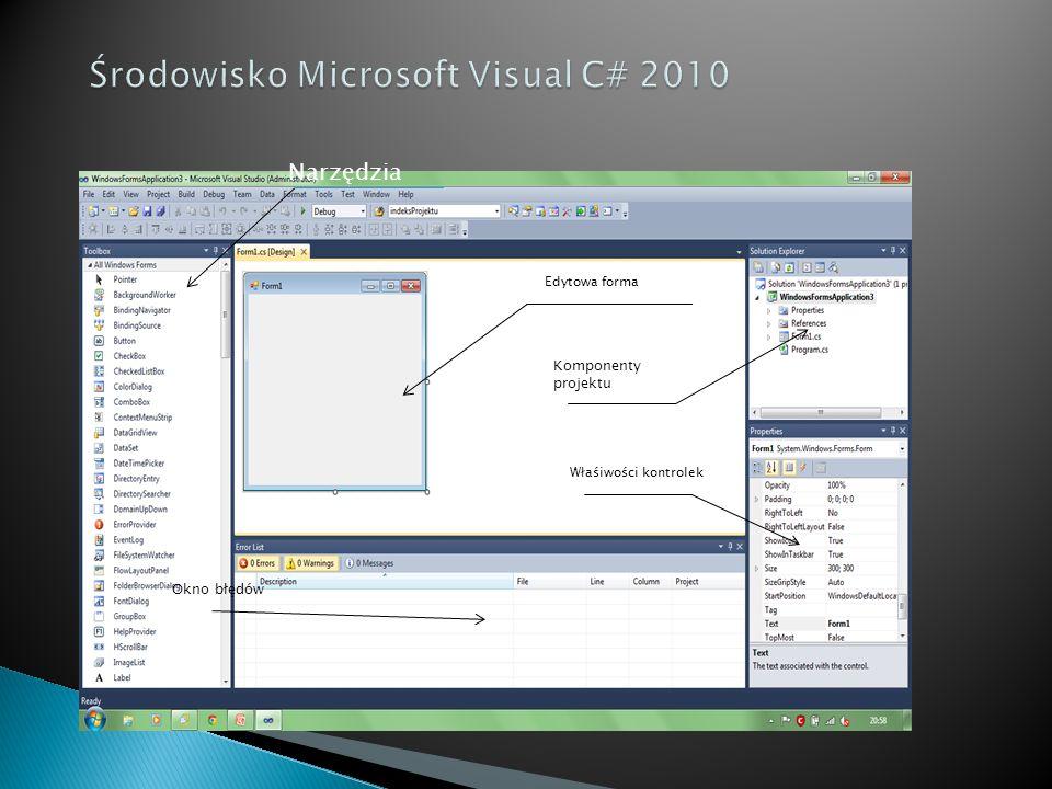 Narzędzia Komponenty projektu Właśiwości kontrolek Edytowa forma Okno błędów