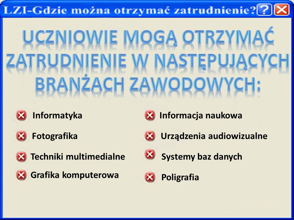 InformatykaInformacja naukowa Fotografika Urządzenia audiowizualne Techniki multimedialneSystemy baz danych Grafika komputerowa Poligrafia