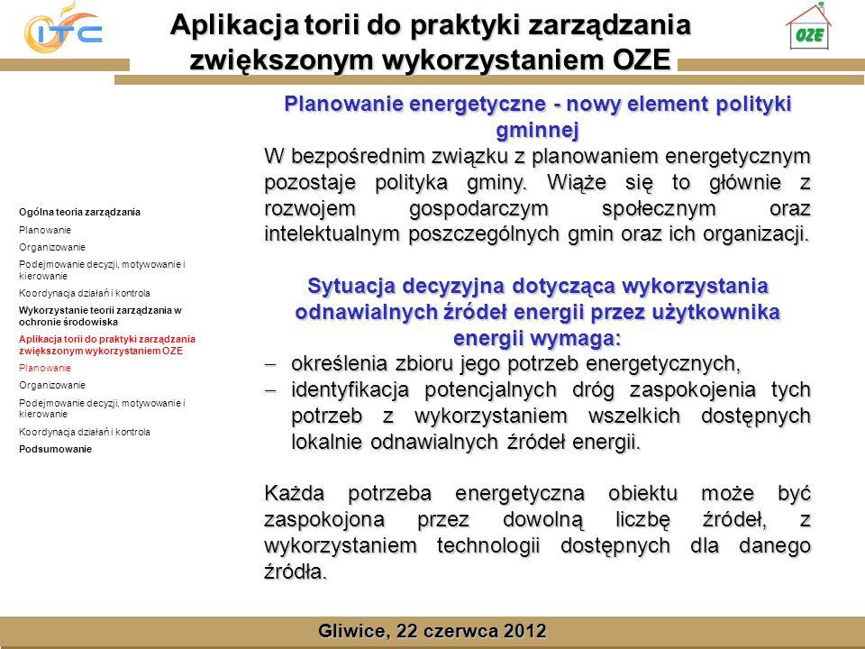 Gliwice, Lipiec 2008 Gliwice, 22 czerwca 2012 Planowanie energetyczne - nowy element polityki gminnej W bezpośrednim związku z planowaniem energetycznym pozostaje polityka gminy.