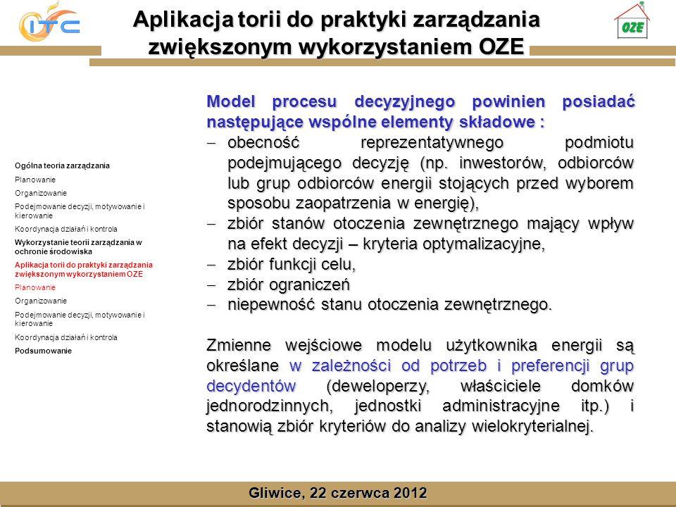 Gliwice, Lipiec 2008 Gliwice, 22 czerwca 2012 Model procesu decyzyjnego powinien posiadać następujące wspólne elementy składowe : obecność reprezentatywnego podmiotu podejmującego decyzję (np.