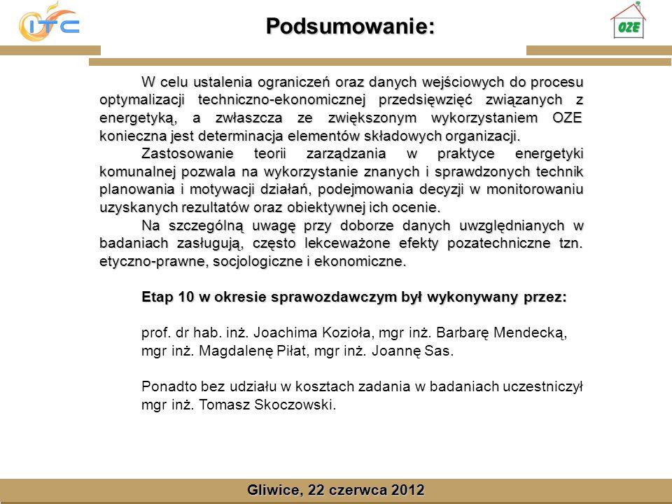 Gliwice, Lipiec 2008 Podsumowanie: Gliwice, 22 czerwca 2012 W celu ustalenia ograniczeń oraz danych wejściowych do procesu optymalizacji techniczno-ekonomicznej przedsięwzięć związanych z energetyką, a zwłaszcza ze zwiększonym wykorzystaniem OZE konieczna jest determinacja elementów składowych organizacji.