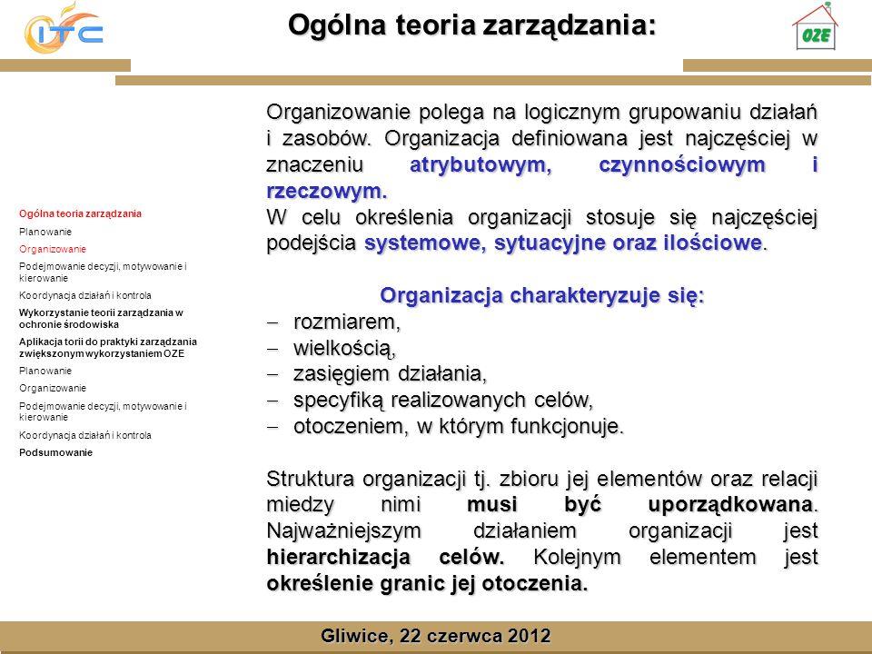 Gliwice, Lipiec 2008 Gliwice, 22 czerwca 2012 Ogólna teoria zarządzania Planowanie Organizowanie Podejmowanie decyzji, motywowanie i kierowanie Koordynacja działań i kontrola Wykorzystanie teorii zarządzania w ochronie środowiska Aplikacja torii do praktyki zarządzania zwiększonym wykorzystaniem OZE Planowanie Organizowanie Podejmowanie decyzji, motywowanie i kierowanie Koordynacja działań i kontrola Podsumowanie Aplikacja torii do praktyki zarządzania zwiększonym wykorzystaniem OZE