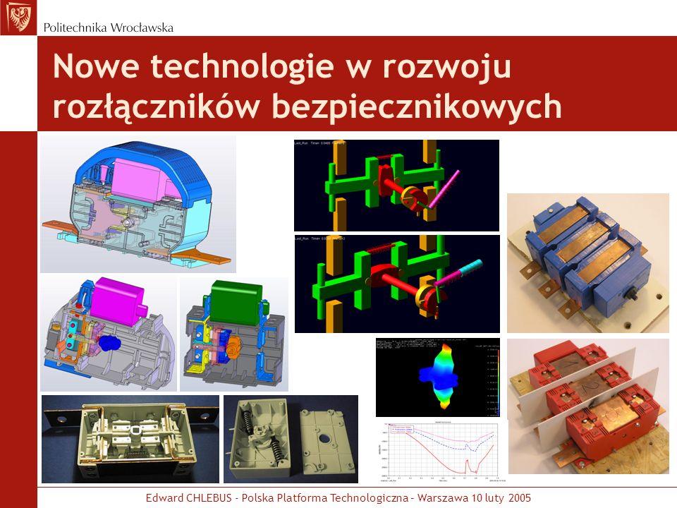 Edward CHLEBUS - Polska Platforma Technologiczna – Warszawa 10 luty 2005 Nowe technologie w rozwoju rozłączników bezpiecznikowych