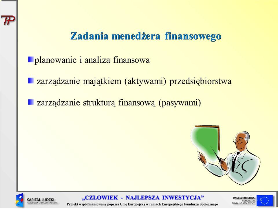 13 Zadania menedżera finansowego planowanie i analiza finansowa zarządzanie majątkiem (aktywami) przedsiębiorstwa zarządzanie strukturą finansową (pas