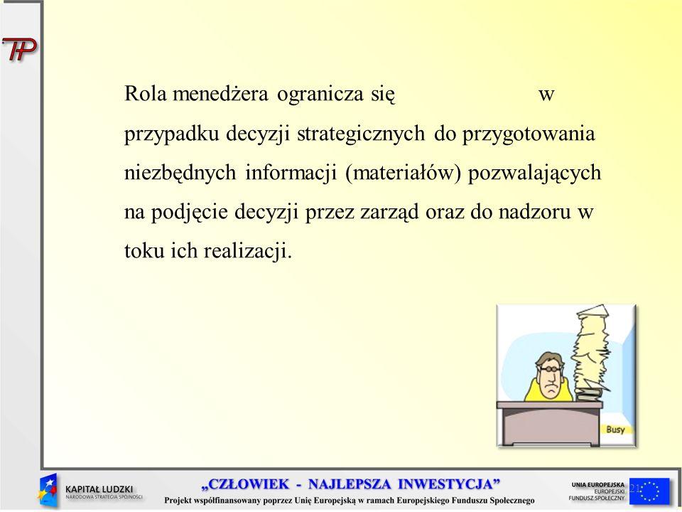 21 Rola menedżera ogranicza się w przypadku decyzji strategicznych do przygotowania niezbędnych informacji (materiałów) pozwalających na podjęcie decy