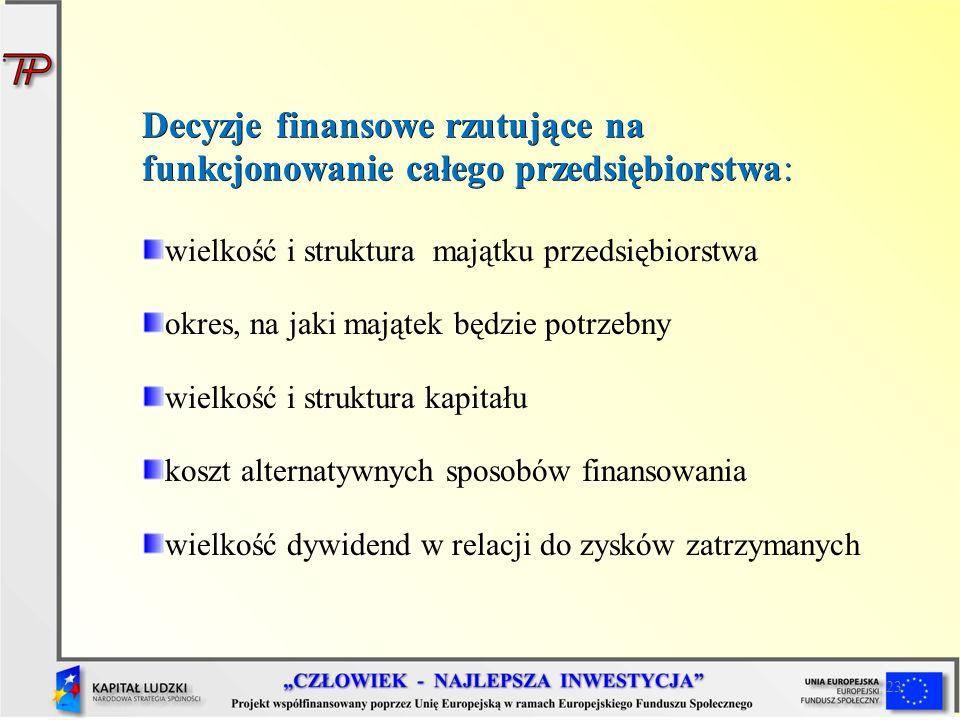 23 Decyzje finansowe rzutujące na funkcjonowanie całego przedsiębiorstwa: wielkość i struktura majątku przedsiębiorstwa okres, na jaki majątek będzie