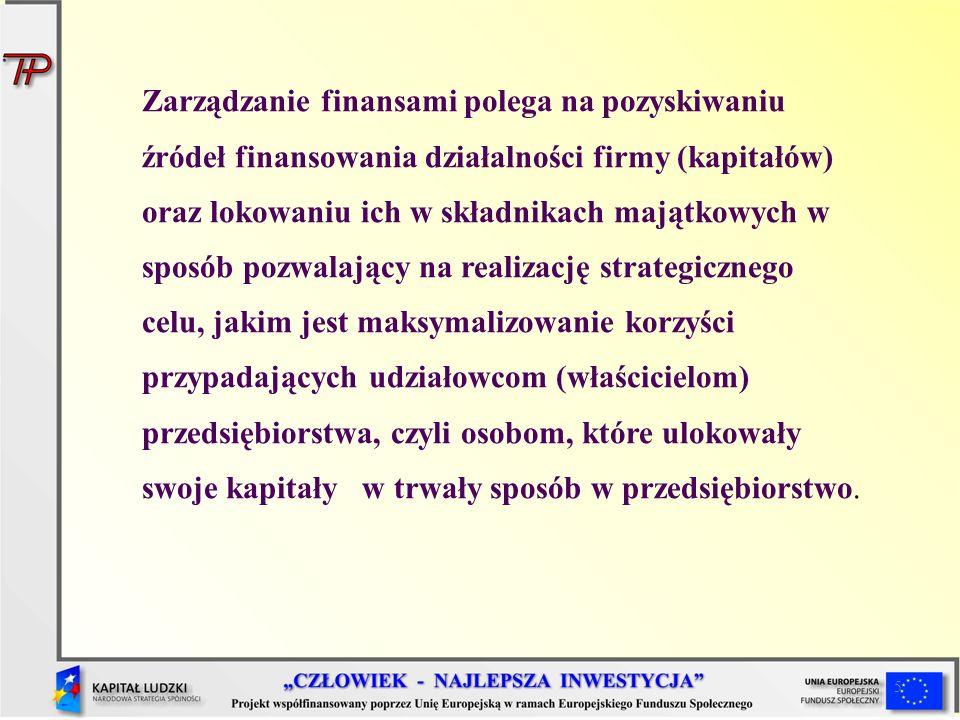 5 Zarządzanie finansami polega na pozyskiwaniu źródeł finansowania działalności firmy (kapitałów) oraz lokowaniu ich w składnikach majątkowych w sposó