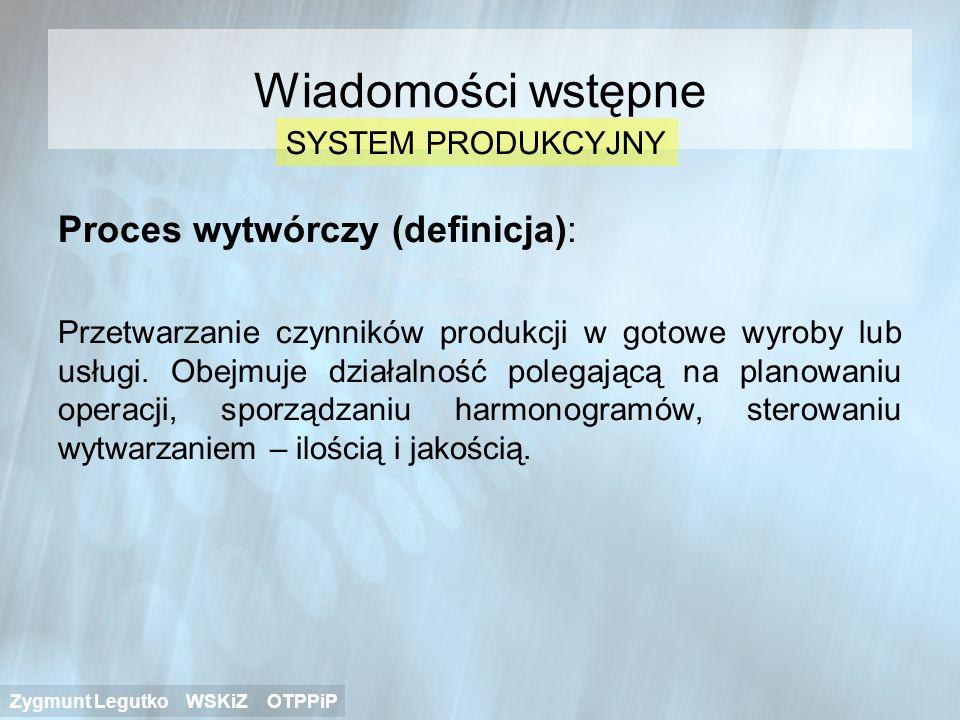 Proces wytwórczy (definicja): Przetwarzanie czynników produkcji w gotowe wyroby lub usługi. Obejmuje działalność polegającą na planowaniu operacji, sp