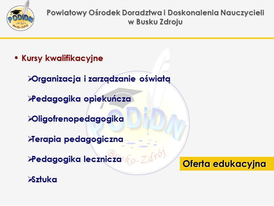 Powiatowy Ośrodek Doradztwa i Doskonalenia Nauczycieli w Busku Zdroju Doskonalenie Doskonalenie kadry kierowniczej, nauczycieli, pedagogów, wychowawców.