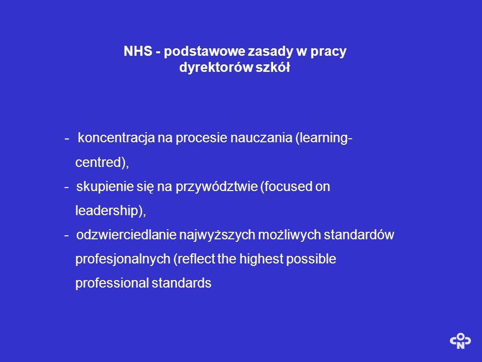 NHS - podstawowe zasady w pracy dyrektorów szkół - koncentracja na procesie nauczania (learning- centred), - skupienie się na przywództwie (focused on