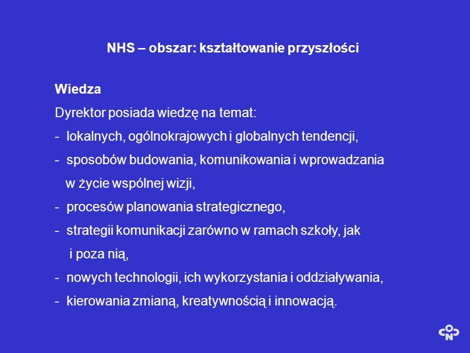 NHS - Obszar: kierowanie procesem uczenia się i uczenia Wiedza Dyrektor posiada wiedze na temat: -modeli organizacji i zasad ich rozwoju, -Zasad i wzorców autoewaluacji, -Zasad i praktyki autonomii, -Zasad i strategii poprawiania jakości pracy szkoły, -Zarządzania projektem w planowaniu i zarządzaniu zmianą, -Tworzenie polityki poprzez konsultacje i analizę, -Podejmowania decyzji na podstawie posiadanych informacji.