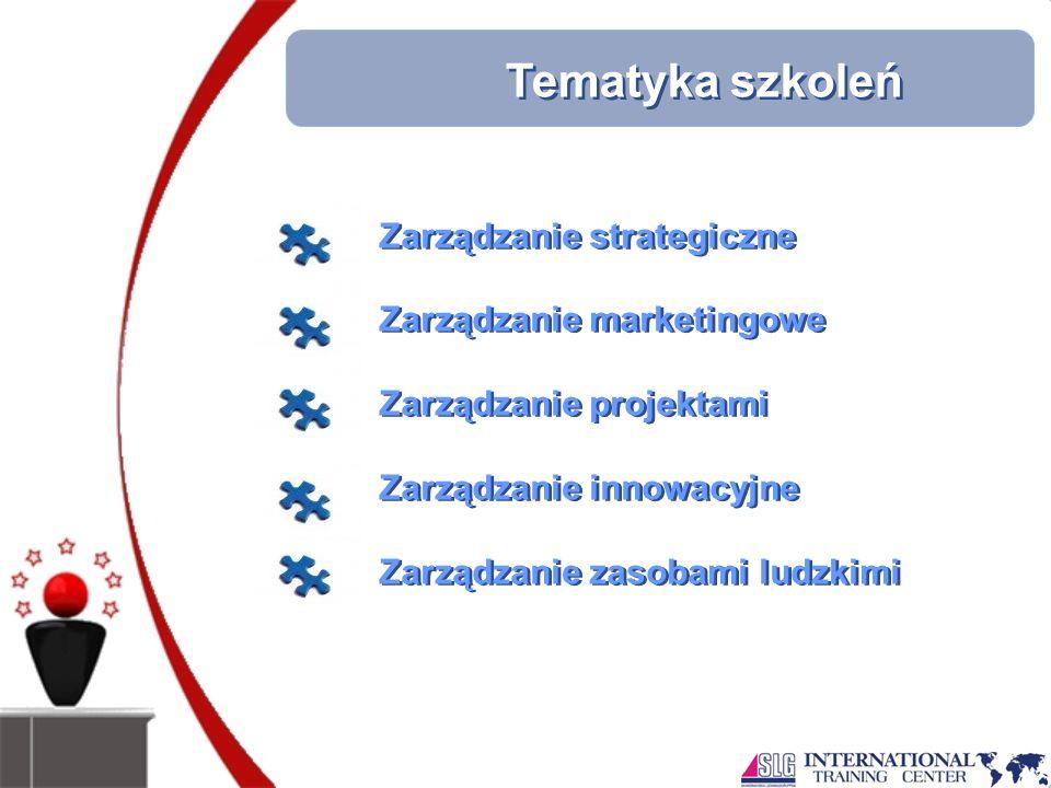 Tematyka szkoleń Zarządzanie strategiczne Zarządzanie marketingowe Zarządzanie projektami Zarządzanie innowacyjne Zarządzanie zasobami ludzkimi Zarządzanie strategiczne Zarządzanie marketingowe Zarządzanie projektami Zarządzanie innowacyjne Zarządzanie zasobami ludzkimi