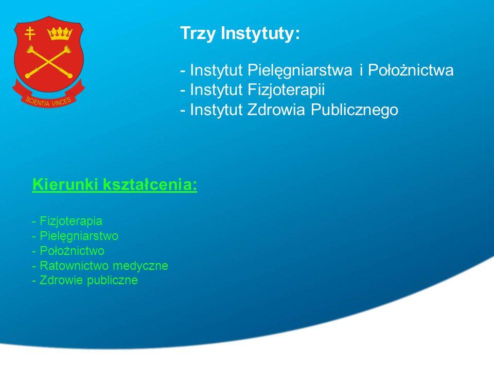 Trzy Instytuty: - Instytut Pielęgniarstwa i Położnictwa - Instytut Fizjoterapii - Instytut Zdrowia Publicznego Kierunki kształcenia: - Fizjoterapia - Pielęgniarstwo - Położnictwo - Ratownictwo medyczne - Zdrowie publiczne
