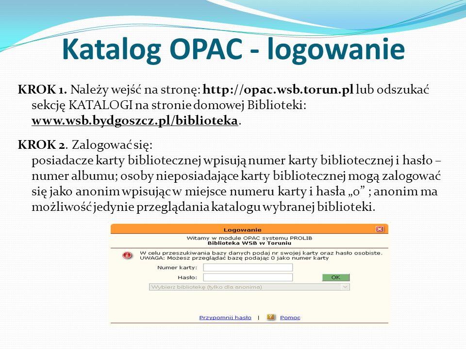 Katalog OPAC - logowanie KROK 1.