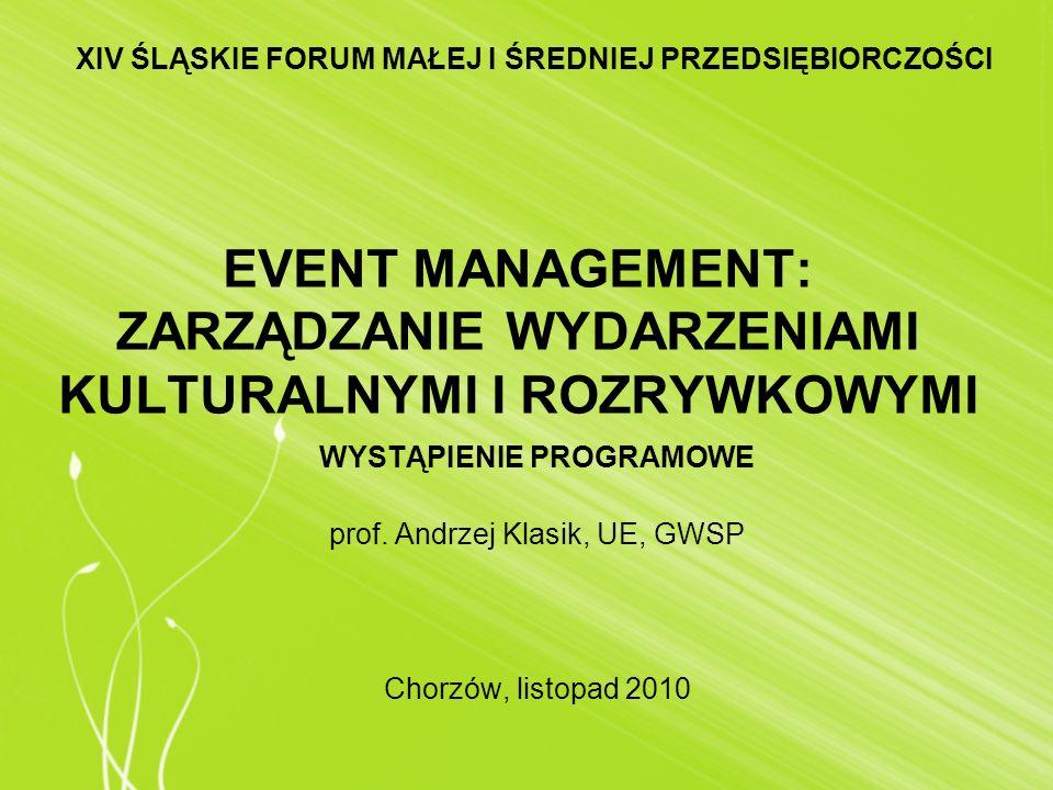 EVENT MANAGEMENT: ZARZĄDZANIE WYDARZENIAMI KULTURALNYMI I ROZRYWKOWYMI WYSTĄPIENIE PROGRAMOWE prof. Andrzej Klasik, UE, GWSP Chorzów, listopad 2010 XI