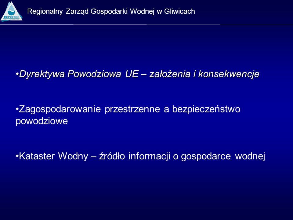 Regionalny Zarząd Gospodarki Wodnej w Gliwicach Wstępna ocena ryzyka Mapy zagrożenia powodziowego Studia określające bezpośrednie zagrożenia powodzią (RZGW) Konflikt interesów świadome kształtowanie otoczenia