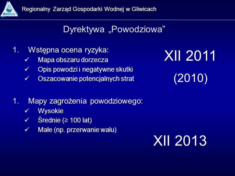 Regionalny Zarząd Gospodarki Wodnej w Gliwicach Dyrektywa Powodziowa 1.Wstępna ocena ryzyka: Mapa obszaru dorzecza Opis powodzi i negatywne skutki Osz