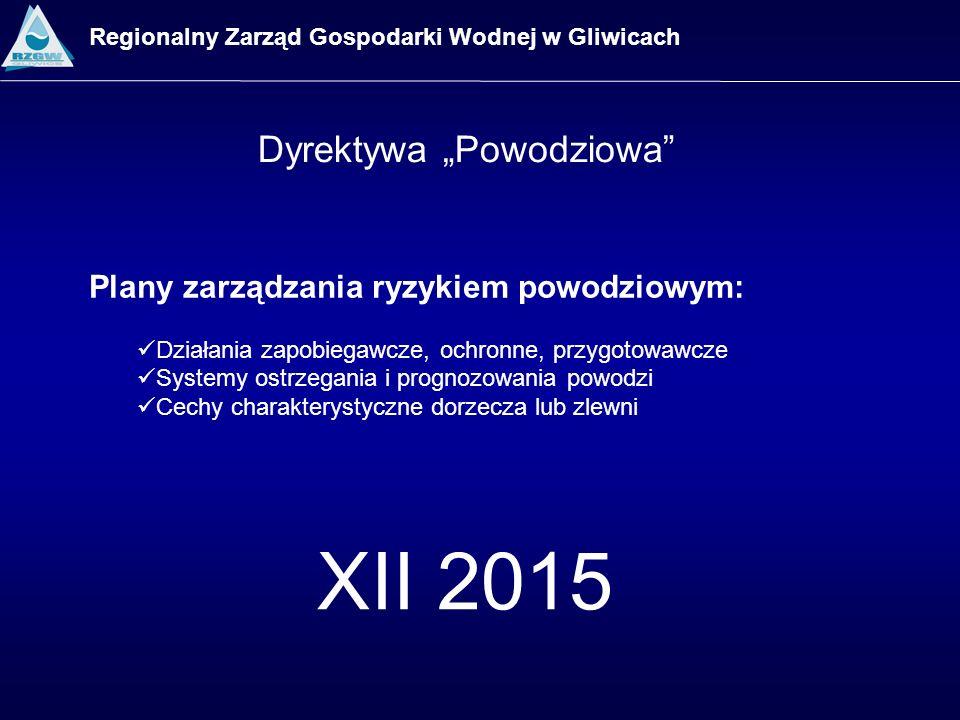 XII 2015 Dyrektywa Powodziowa Regionalny Zarząd Gospodarki Wodnej w Gliwicach Plany zarządzania ryzykiem powodziowym: Działania zapobiegawcze, ochronn