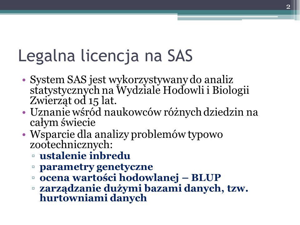 Legalna licencja na SAS System SAS jest wykorzystywany do analiz statystycznych na Wydziale Hodowli i Biologii Zwierząt od 15 lat. Uznanie wśród nauko