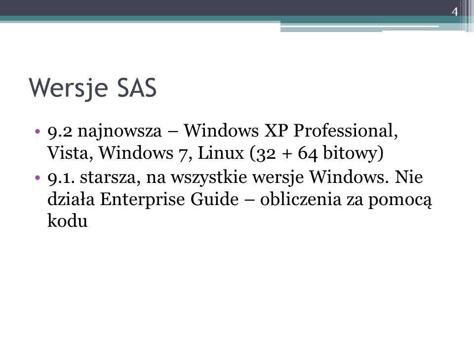 Wersje SAS 9.2 najnowsza – Windows XP Professional, Vista, Windows 7, Linux (32 + 64 bitowy) 9.1. starsza, na wszystkie wersje Windows. Nie działa Ent